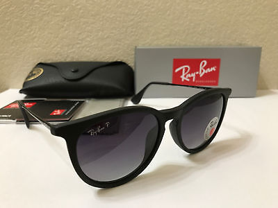 RAY-BAN Sunglasses Erika Polarized Matte Black Frame W/Grey Gradient 54M.