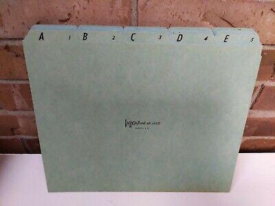 Vintage Oxford File Folder Dividers Blue Card Black Lettering Alphabet Tabs
