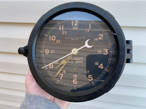 "WWII Chelsea US NAVY  6"" dial ships clock"