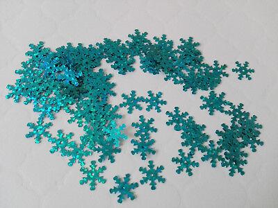 Schneeflocken wunderschön irisierend eisblau/gold/ silber 100 Stück Scrappen 36