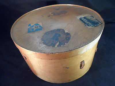 Antique Vintage Wooden Luterma Hat Box -- Early 1900