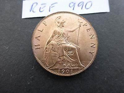Victoria Half Penny coin 1901  UNC    with Luster      Ref 990