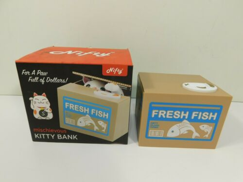 Nifty Mischievous Kitty Bank Electronic Animated Whimsical Piggy Bank