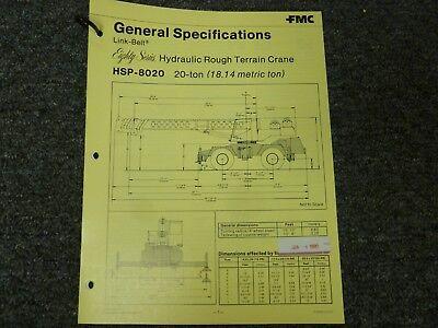 Link-belt Hsp-8020 Rough Terrain Crane Specifications Lifting Capacities Manual