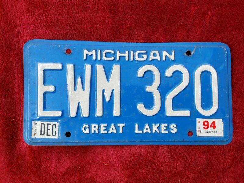 1994 Michigan License Plate EWM 320 Blue Original