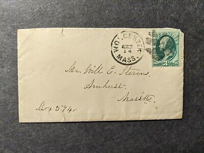 1870's WORCESTER to AMHERST, MASS, MA Postal History Cover