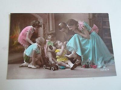 Delightful Colourful Vintage Postcard Real Photo Mum Dad & Children