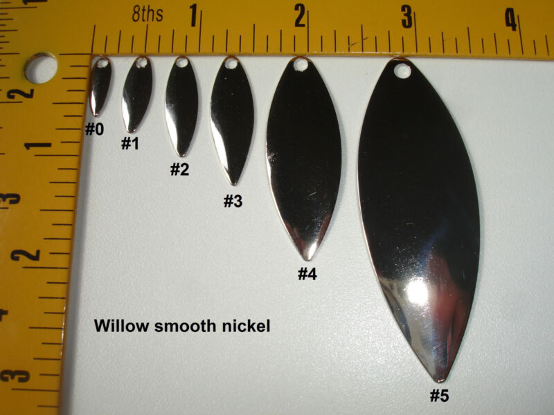 Willow blades hammered, smooth, nickel or polished brass  Sizes 0,1, 2, 3, 4, 5