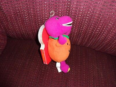 BEANIE BARNEY DINOSAUR ATTACHED TO BOARD BOOK BARNEY'S HAPPY HALLOWEEN - Barney Halloween Book