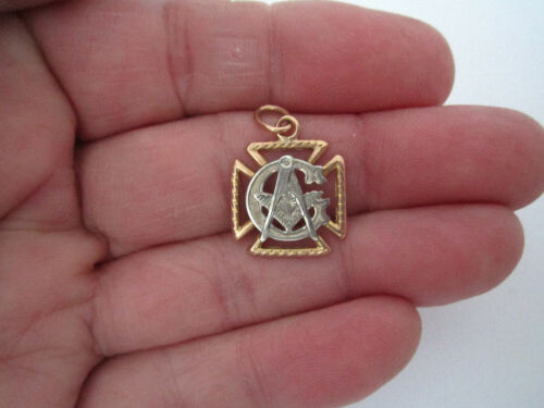 Victorian 14K Masonic Solid White & Light Rose Gold -Compass Ruler G Pendant FOB