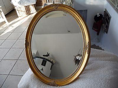 Luxus Spiegel Wandspiegel Retro Spiegel Gold 57x47cm Oval Holz Barock Stil NEU**