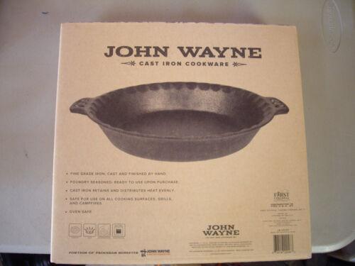 "John Wayne Cast Iron Cookware 10.25"" Pie Pan Foundry Seasoned Ready to use NIB"