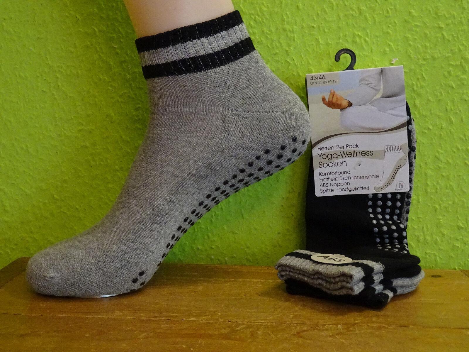 2 Paar Herren Damen ABS Wellness Frottee Sohle Socken Yoga 39 - 46 grau schwarz