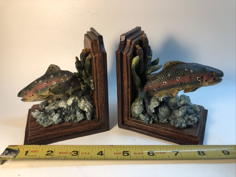 Vintage Trout Fishing Book Ends