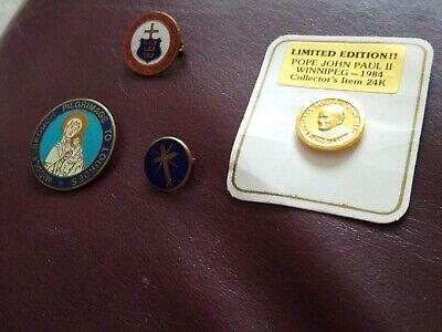 4 x Vintage Holy Badges :Lourdes, Pope John Paul II, Cross, Mission to Hull 1953