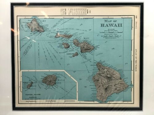 Antique Map of Hawaii Matted w/ COA Rand McNally Copyright 1898 Published 1899