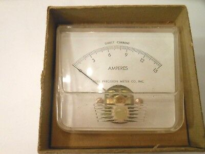 Vintage Ideal Precision Dc 0-15 Ampers Panel Meter 250 Steampunk