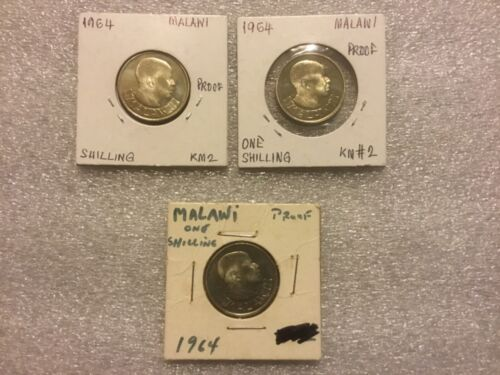 1964 Malawi Set of 3 proof 1 Shilling Collectible  coins~KM2-MINTAGE=10,000 only