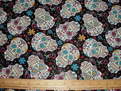 Cotton Fabric Dia De Los Muertos Calaveras Sugar Skulls on BLACK New Colors  BTY