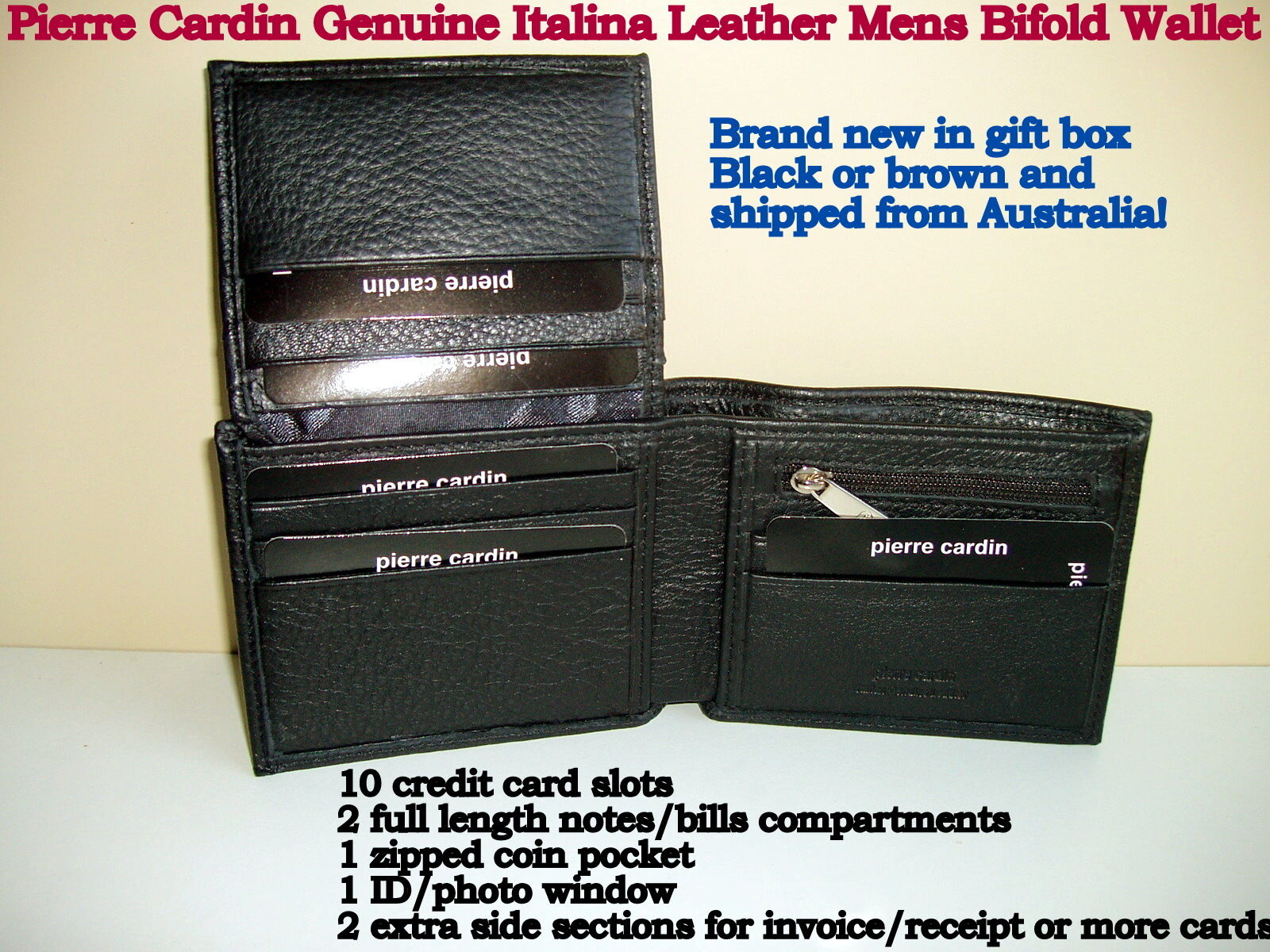 5734717cd970 Pierre Cardin Men's Black Leather Wallet And Gift Boxes   Stanford ...