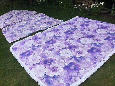 1970s Vintage Lilac Single bed Quilt Throw Cover Floral & curtains retro Kitsch
