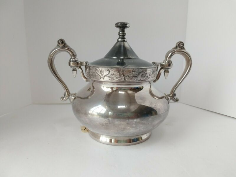 Reed & Barton Vintage Silverplate Sugar Bowl 2710 With Lid silver plated Pegasus