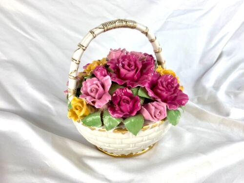 "Royal Albert Old Country Roses Musical Basket Flower Bouquet ""Fur Elise"" 8x8"