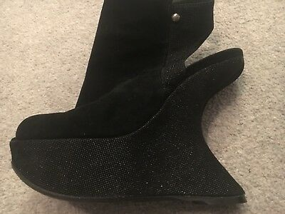 Stuart Weitzman Open Toe Black Suede And Glittery Shoe Boot With Wedge. Size 3 (Open-toe Wedge Boot)