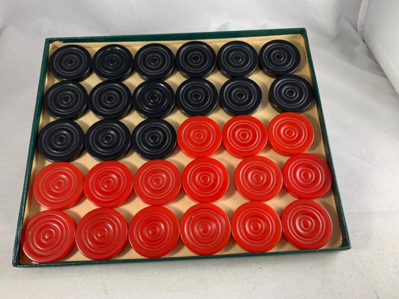 Vintage Bakelite Celluloid Black Red Backgammon Chips Checkers In Original Box