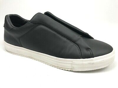 Zara Man Mens Black Leather Casual Slip On Sneakers Cross Band Shoes Size 10M