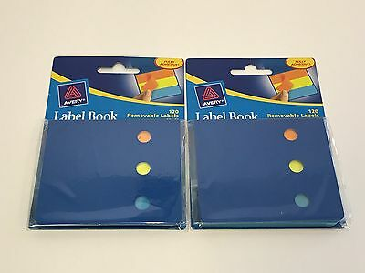 2 Lot Avery Label Book 120 Removable Labels Write Peel Stick 22046