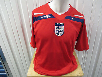f7d31af1d VINTAGE UMBRO ENGLAND NATIONAL FOOTBALL SOCCER TEAM XL SEWN RED 2008 JERSEY