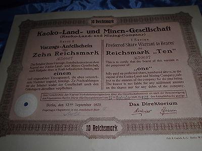835 : deutsche Aktie / Wertpapier , September 1925 , Kaoko - Land - u. Minen /07