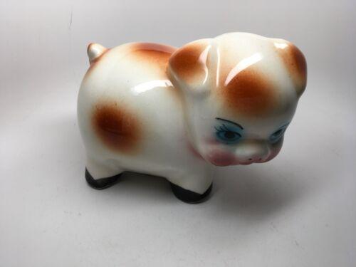 LARGE VINTAGE GLAZED CERAMIC 'PIG' PIGGY BANK - TURNED HEAD - MINT!