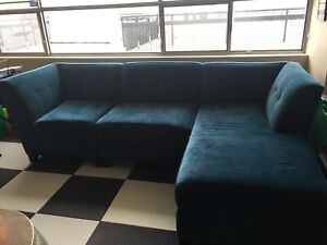 Modern dark teal blue contemporary couch