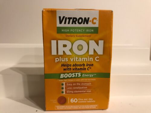 Vitron-C High Potency Iron Supplement With Vitamin C Boosts Energy 60 Count - $12.99