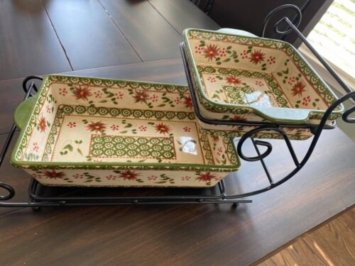 Temp-tations Old World Poinsettia Sleigh & Bakers with Stamped Edges/ Christmas