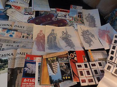 lot ephemera 1986 China trip: paper cut warrior, map, news, Hotel, music, slide