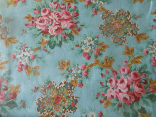 Antique Romantic Cottage Roses Jacobean Floral Cotton Fabric ~ Pink Blue ~unused