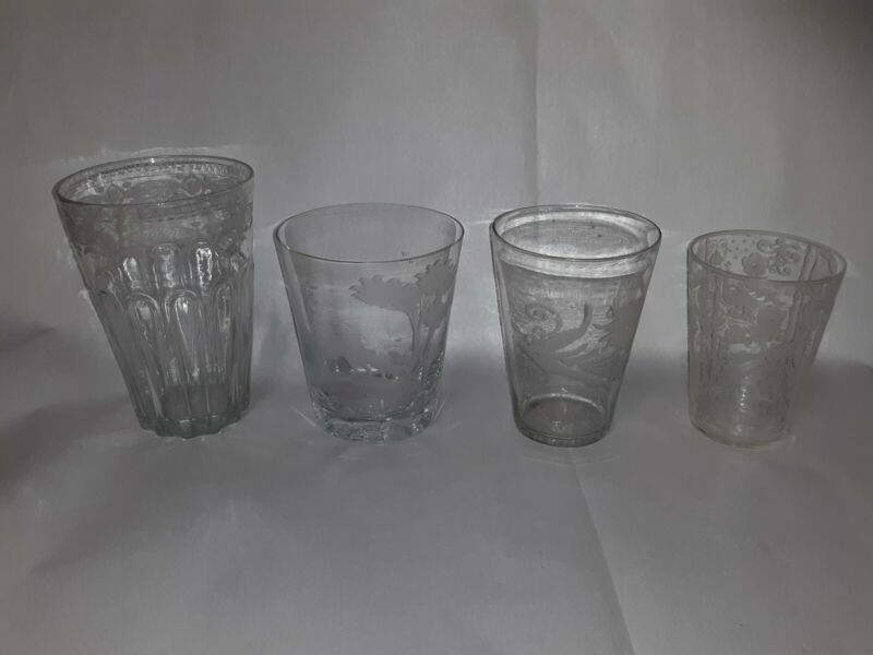 Antique American Steigel Glass Tumblers Americana Mixed lot 4pcs