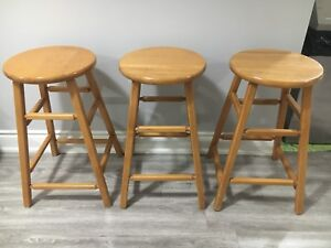 Solid wooden stools good condition x3