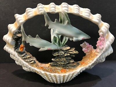 "SHARK Sea Ocean Shell Reef SCULPTURE STATUE Figurine 7"" New In Box"