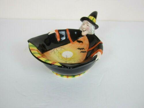FITZ & FLOYD Halloween Boo Witch Candy Dish EUC
