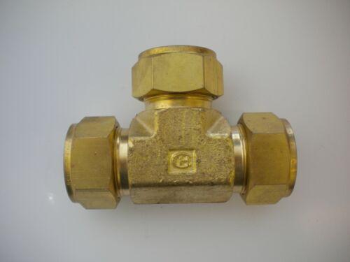 """Hy-Lok 1"""" Double Ferrule Brass Compression Tee  CTA-16-BRAS"""