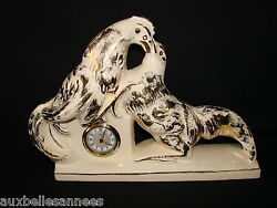 Antique Clock Art Deco Signed rozay - La Terminal - Combat Roosters - French