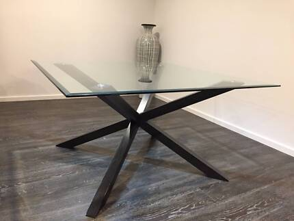 Nick Scali glass dining table