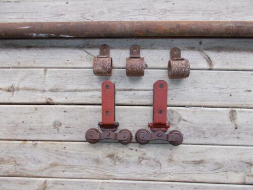Antique Cannonball Barn Door Hardware Rollers w/ Track & Hangers