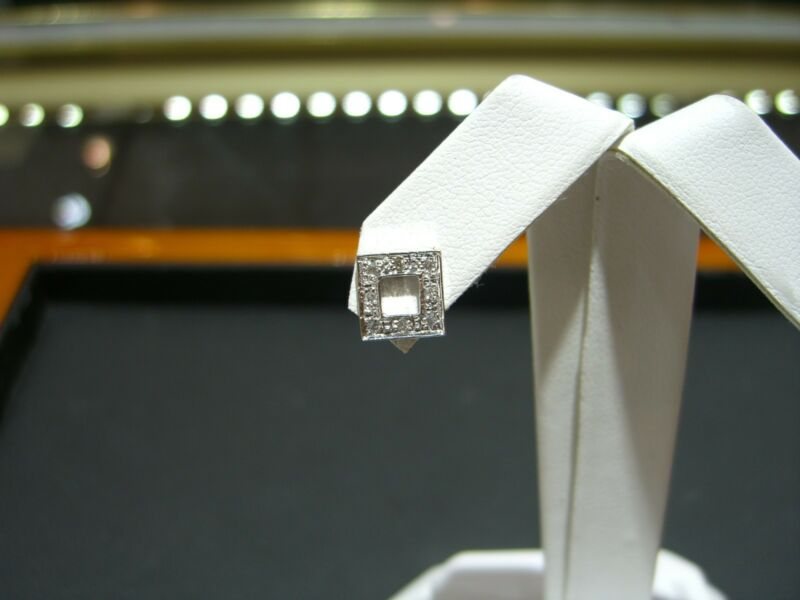 Fine Diamond Square Stud Earrings 0.20 Carat 14 Karat White Gold New!!