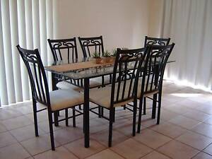 .Dining Room Table 7 Piece Glass Top Black Metal Decorative Desig Warner Pine Rivers Area Preview