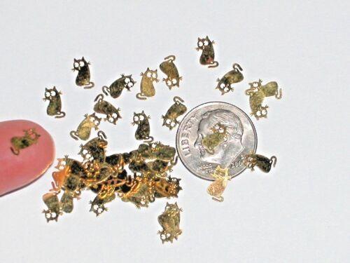 20pc Tiny metal golden baby Kitty Cats rare charm fairy dust glitter Halloween *